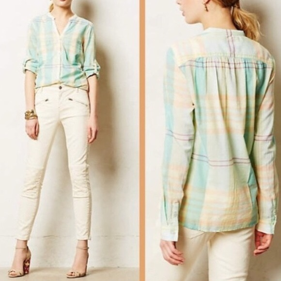 Anthropologie Tops - Holding Horses • Light Plaid Button Down